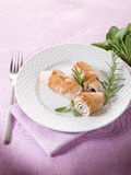 Stuffed roll of turkey with sage Stock Images