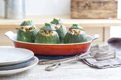 Stuffed round zucchini Stock Photography