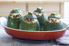 Stuffed round zucchini Royalty Free Stock Images