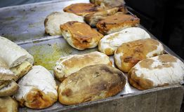 Stuffed sandwich chorizo. Stuffed sausage sandwich in restaurant, fast and insane food stock photo