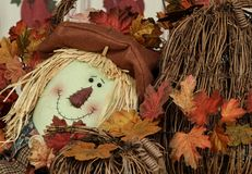 Stuffed scarecrow with grapevine pumpkin stock photos