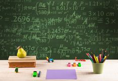 Back to school blackboard with numbers Stock Image