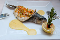 Stuffed Sea Bass with vegetables Royalty Free Stock Photography