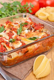 Stuffed shell pasta with tomato sauce Stock Photography