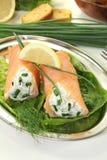 Stuffed smoked salmon rolls Royalty Free Stock Photo