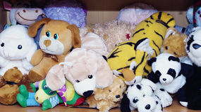 Stuffed soft animal toys waiting for a child to play Royalty Free Stock Photography