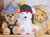 Stuffed soft animal toys waiting for a child to play Royalty Free Stock Images