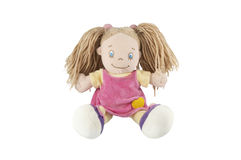 Stuffed soft funny pig-tailed doll Stock Images