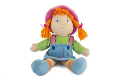 Stuffed Soft Sitting Funny Pig-tailed Red-headed Doll Royalty Free Stock Photo