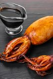 Stuffed squid with soy sauce Royalty Free Stock Image