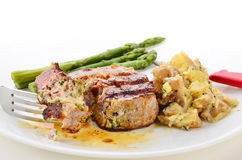 Stuffed Steak and Potatoes Stock Photography