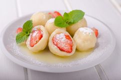 Stuffed strawberry dumplings stock photography