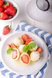 Stuffed strawberry dumplings stock photo