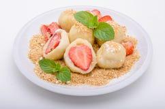 Stuffed strawberry dumplings royalty free stock image