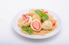 Stuffed strawberry dumplings royalty free stock images