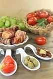 Stuffed Tapas with fruits Royalty Free Stock Images
