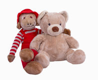 Stuffed Teddy Bear and Monkey Buddy Stock Images