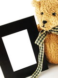 Stuffed Teddy & Frame Closeup Royalty Free Stock Photos