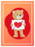 Stuffed Teddy with Sheet of Paper and Broken Heart. Stuffed teddy with sheet of paper and hand drawn broken heart with arrow in it, vector illustration of cute Royalty Free Stock Photos