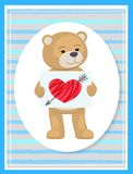 Stuffed Teddy with Sheet of Paper and Broken Heart. Stuffed teddy with sheet of paper and hand drawn broken heart with arrow, vector illustration of cute male Stock Images