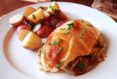 Stuffed Tilapia with side of potatoes Royalty Free Stock Photo
