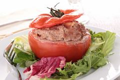 Stuffed tomato with beef Royalty Free Stock Photo