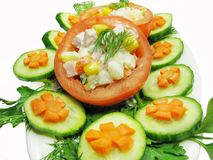 Stuffed tomato with cucumber and carrot Royalty Free Stock Photo