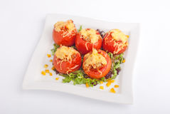 Stuffed tomatoes with cheese Royalty Free Stock Photo