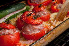 Stuffed tomatoes eggplant and peppers Royalty Free Stock Photo