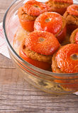 Stuffed tomatoes on glass bowl. Royalty Free Stock Image