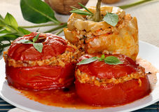 Stuffed tomatoes and pepper Royalty Free Stock Photos