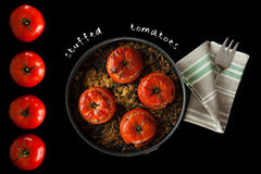 Stuffed Tomatoes Recipe Cover Royalty Free Stock Photos