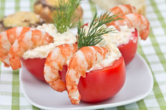 Stuffed tomatoes with shrimp Stock Photography