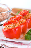 Stuffed tomatoes on a white plate. Stock Photography