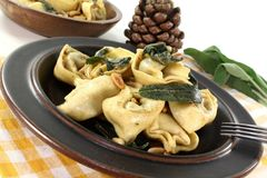 Stuffed tortellini with sage butter Stock Images