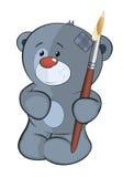 The stuffed toy bear cub the artist cartoon Stock Photo