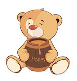 A stuffed toy bear cub and a barrel of honey cartoon Royalty Free Stock Photos