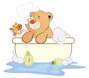 A stuffed toy bear cub in a bath cartoon Stock Photography