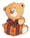 A stuffed toy bear cub and a box cartoon Royalty Free Stock Images