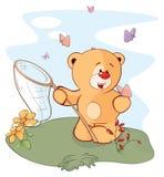 A stuffed toy bear cub and a butterflies cartoon Stock Photography