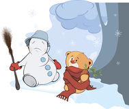 A stuffed toy bear cub and a christmas snowball cartoon Stock Photography