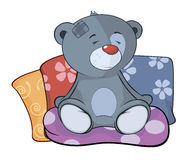 The stuffed toy bear cub and pillows cartoon Royalty Free Stock Images