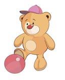 A stuffed toy bear cub a soccer player cartoon Royalty Free Stock Photography