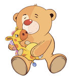 A stuffed toy bear cub and a toy giraffe cartoon Stock Photo
