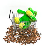 Stuffed Toy Frog in Shopping Cart Stock Images