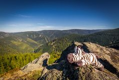 Stuffed toy zebra lying on Rysi skaly lookout over beautiful valley of Jeseniky stock photos
