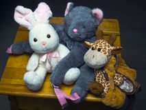 Stuffed toys a giraf a rabbit and a bear Royalty Free Stock Image