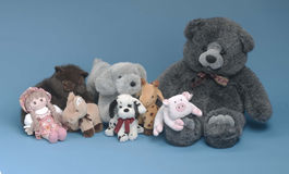 Free Stuffed Toys On Blue Background Stock Images - 13554634