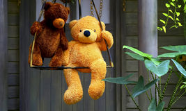 Stuffed toys two teddy bears on a swing Stock Images