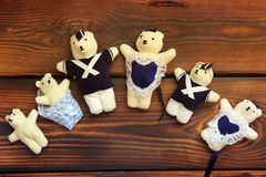 Stuffed toys on wooden background. Bears stock images
